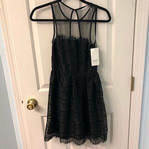 New En Creme Black Lace Dress, Size XS